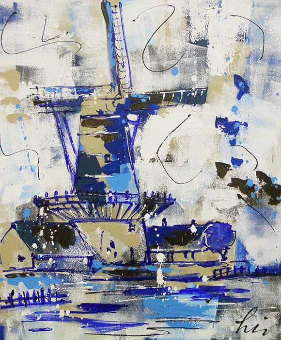 Artmotiv - Delfts-blauw-molen